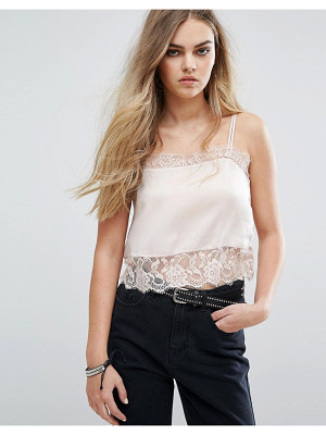 PULL & BEAR Cami Top With Lace Detail
