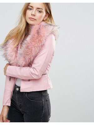 QED LONDON Jacket With Faux Fur Collar