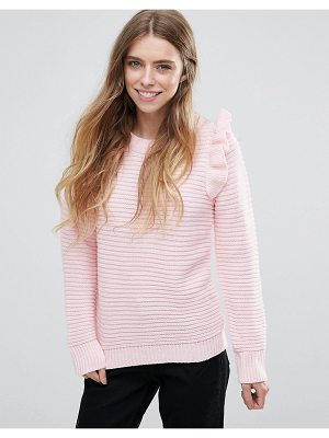 QED LONDON Ribbed Sweater With Shoulder Ruffle