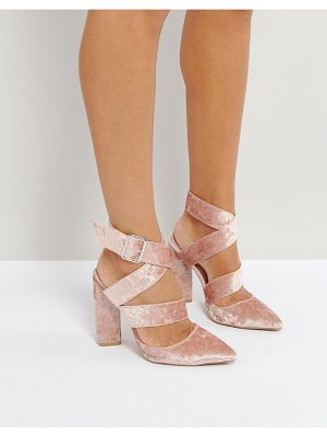 QUPID Qupid Strappy Point Crushed Velvet High Heels