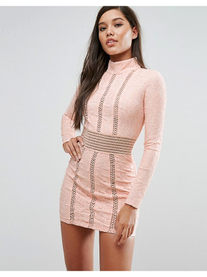 RARE London Mesh Insert Lace Pencil Dress