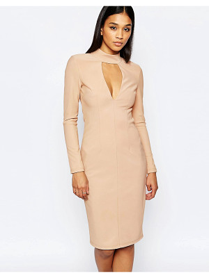 RARE London Plunge High Neck Bodycon Dress