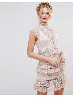 RD & KOKO Rd & Koko High Neck Lace Tiered Dress