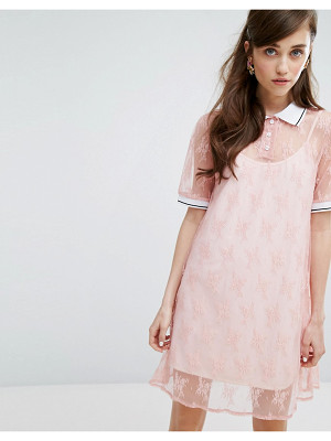 SISTER JANE Sister Jane Turtleneck T-Shirt Dress In Lace With Slip