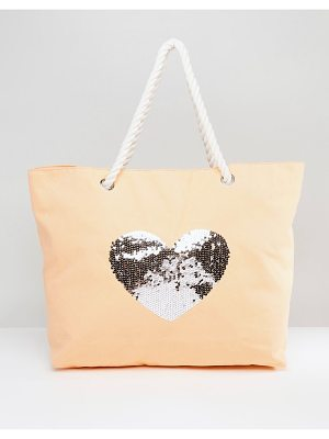South Beach Coral Washed Cotton Beach Bag With Sequin Star