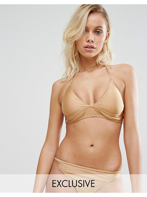 South Beach Fixed Triangle Gold Bikini Top