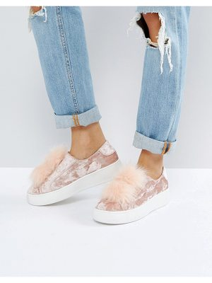 Steve Madden Breeze Velvet Sneakers With Pom
