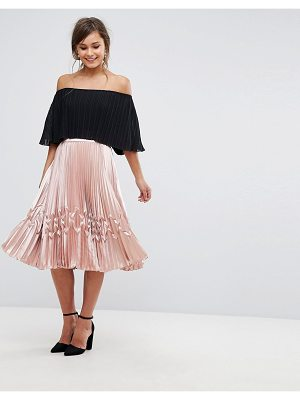 TED BAKER Zig Zag Pleated Midi Skirt