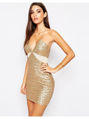 TFNC Allover Sequin Mini Dress With Cut Out Mesh Details