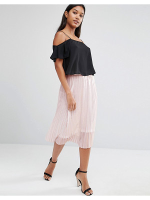 TFNC Foiled Metallic Pleated Midi Skirt