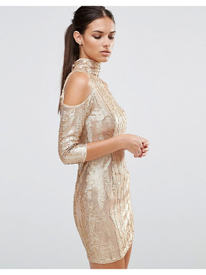 TFNC high neck sequin mini dress with cold shoulder