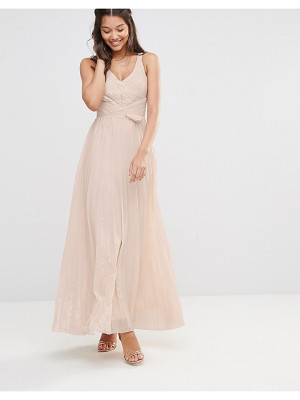 TFNC Pleated Maxi Dress With Metallic Finish