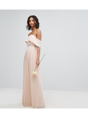 TFNC Bardot Maxi Bridesmaid Dress With Pleated Skirt And Embellished Waist