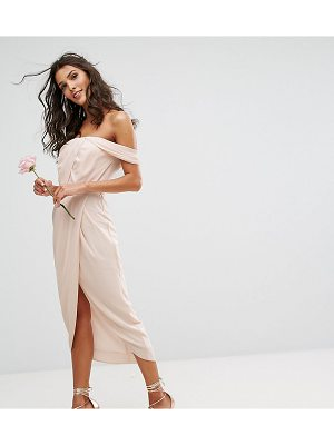 TFNC Wedding Bardot Midi Dress With Wrap Front And Pleated Bust