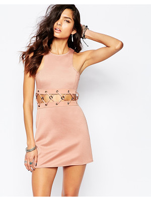 THE LADEN SHOWROOM X Rok & Rebelle Mini Dress With Lace Up Detail