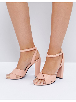 The March twist front dusky pink block heeled sandals