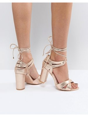 True Decadence Block Heel Ankle Tie Heeled Sandals