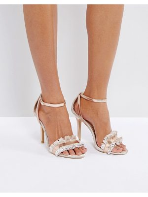 TRUE DECADENCE Frill Rose Gold Barely There Heeled Sandals