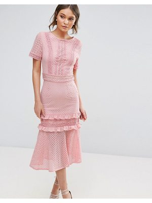 TRUE DECADENCE Lace Midi Dress With Frill Detail