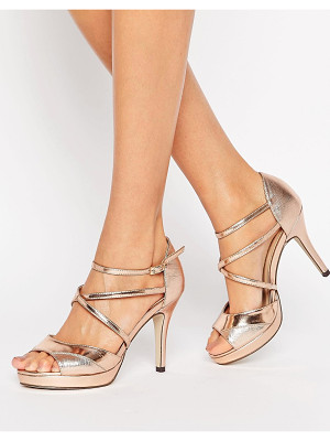 TRUE DECADENCE Rose Gold Cross Strap Platform Heeled Sandals