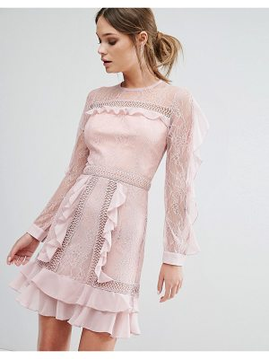 TRUE DECADENCE Ruffle Sleeve Mini Dress With Sheer Panels