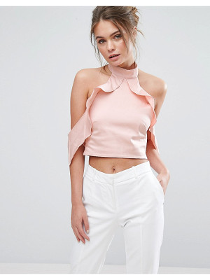 TRUE VIOLET Frill High Neck Crop Top