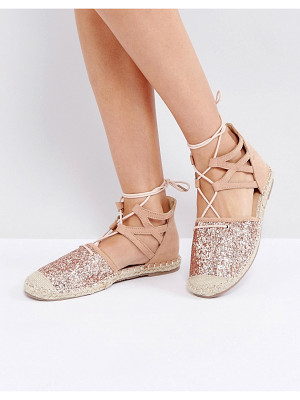 TRUFFLE COLLECTION Glitter Lace Up Espadrille