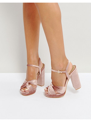TRUFFLE COLLECTION Soft Knot Front Platform Sandals