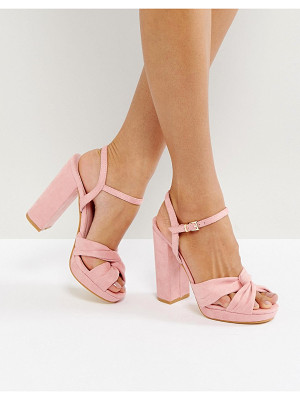 TRUFFLE COLLECTION Soft Knot Front Platform Sandal