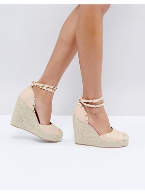 TRUFFLE COLLECTION Studded Ankle Strap Heeled Espadrilles