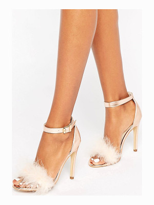 Truffle Collection Truffle Faux Feather Trim 2 Part Sandals