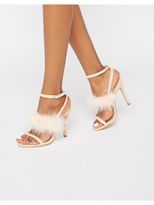 Truffle Collection Truffle Faux Leather Trim 3 Part Heeled Sandals