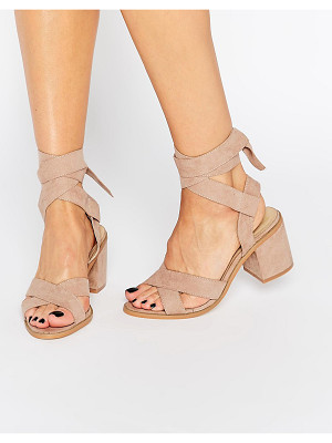 TRUFFLE COLLECTION Tie Ankle Kitten Heel Sandals
