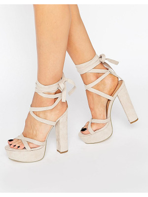 TRUFFLE COLLECTION Truffle Tie Up Block Heel Sandal