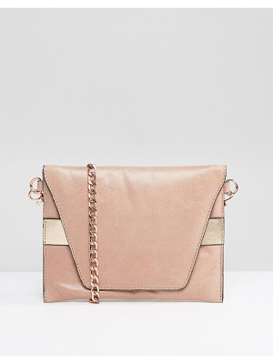 URBANCODE Real Leather Cross Body Bag With Rose Gold Band