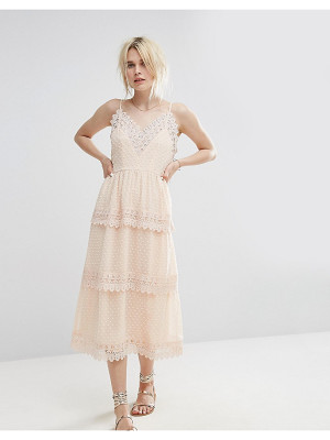 VERO MODA Lace Detail Tiered Cami Midi Dress