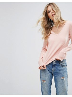 VERO MODA V Neck Ruffle Sleeve Sweater