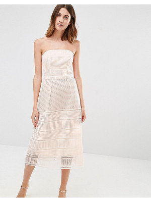 WAREHOUSE Bandeau Premium Lace Midi Dress