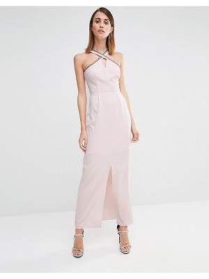 WAREHOUSE Embellished Halter Neck Maxi Dress