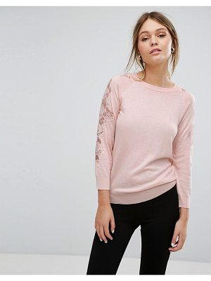 WAREHOUSE Lace Insert Sweater
