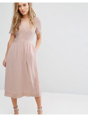 WAREHOUSE Lace V Neck Midi Dress