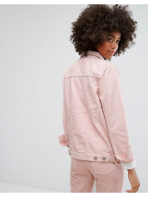Waven Classic Denim Jacket with Tonal Embroidery in Pastel