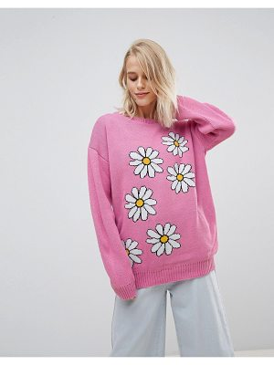 WILLOW AND PAIGE Willow And Paige Oversized Sweater With Daisy Design