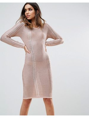 WOW COUTURE Wow Couture Metallic Crochet Knitted Midi Dress
