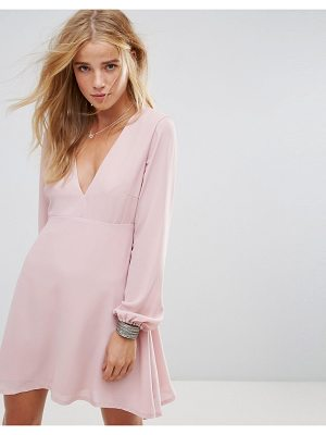 WYLDR wyldr ophellia tea dress with low v neckline and tie sleeves