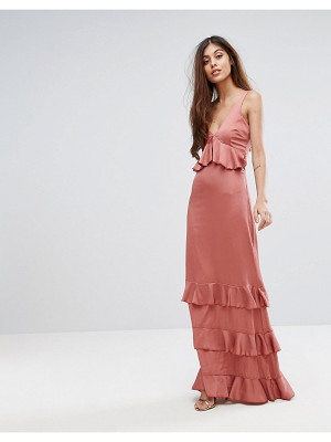 Y.A.S Studio Ruffle Maxi Dress With Lace Inserts