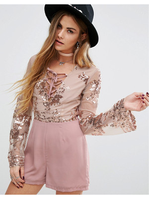 YOUNG BOHEMIANS Romper With Delicate Floral Sequin