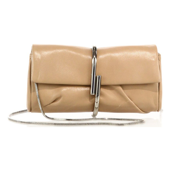 3.1 PHILLIP LIM alix leather chain clutch - Sleek leather clutch with sculptural metal clasp and chain...