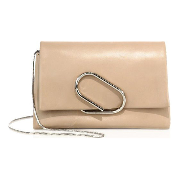 3.1 PHILLIP LIM alix soft flap leather chain clutch - Supple lambskin clutch cinched by sculptural metal band.