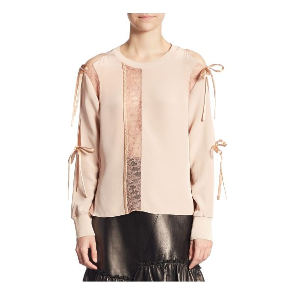 3.1 PHILLIP LIM silk long sleeve top - Silk top with lace details and ties at sleeves. Crewneck....